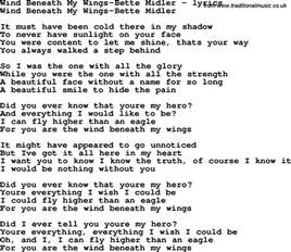 bette midler the lyrics u r the wind beneath my wings lyrics