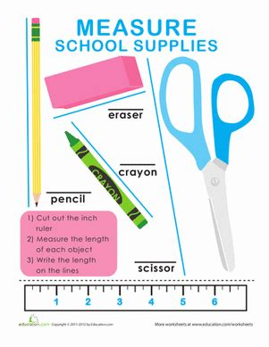 simple combover lengths of measure length and width measure school supplies worksheet