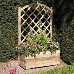 Garden Trellis Co Rowlinson Rectangular Planter With Trellis Panel