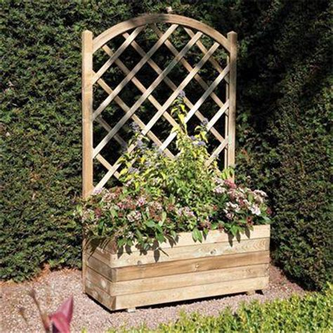Wooden Planters With Trellis by Rowlinson Rectangular Planter With Trellis Panel