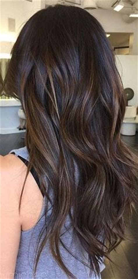 low light hair foiling placements dark brown black hair to subtle caramel ombre courtesy of
