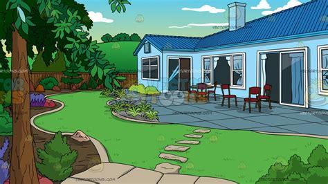 backyard cartoon a landscaped backyard of a house background cartoon