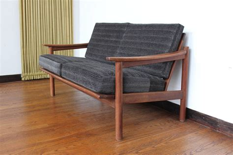 modern settee loveseat mid century modern danish teak loveseat sofa at 1stdibs