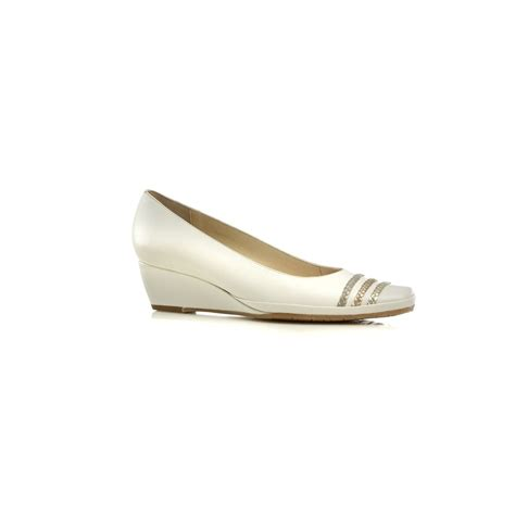 brisbane blanc white leather wedge shoe