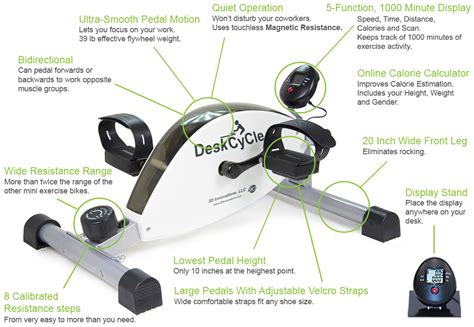 deskcycle desk exercise bike features