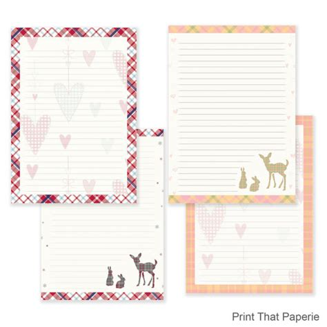 printable writing paper sets tartan writing paper stationary paper letter writing