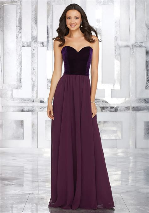 Bridesmaid Dress by Stretch Velvet And Chiffon Bridesmaids Dress With