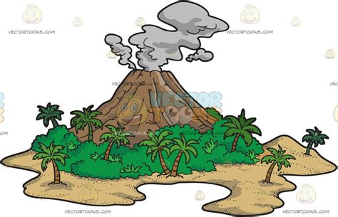 Custom Islands For Kitchen by A Volcanic Island Cartoon Clipart Vector Toons
