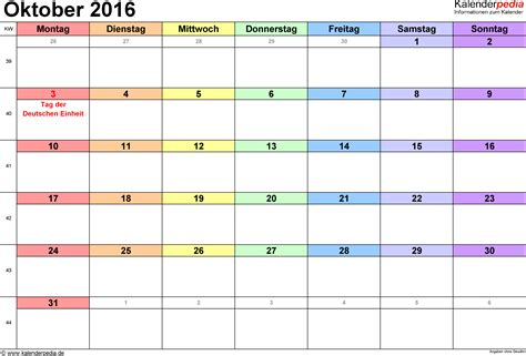 Kalender 2016 Vordruck Kalender Oktober 2016 Als Word Vorlagen