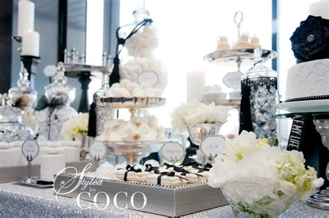 Black And White Buffet Black White Wedding Dessert Table Tickled Pink