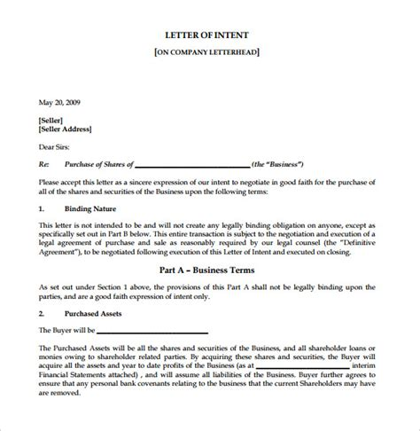 business letter of intent 9 free word pdf format