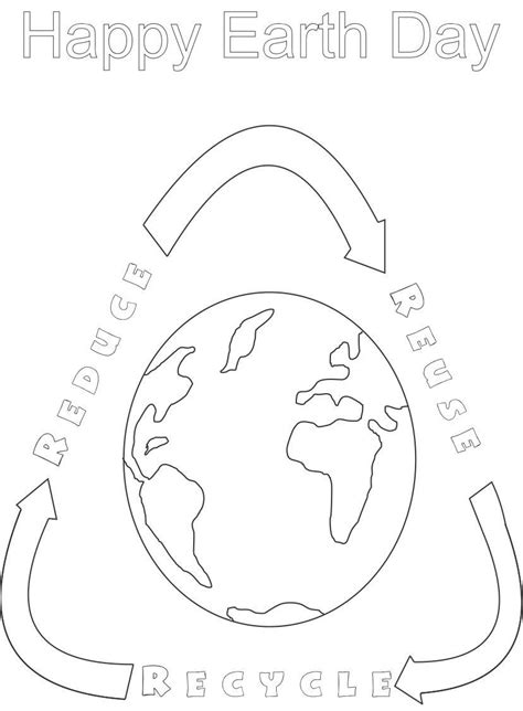 coloring pages for recycle reduce reuse earth day printable coloring page for 5