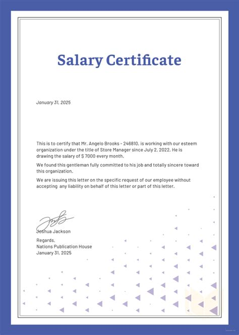 salary certificate template salary certificate formats 17 free word excel pdf documents