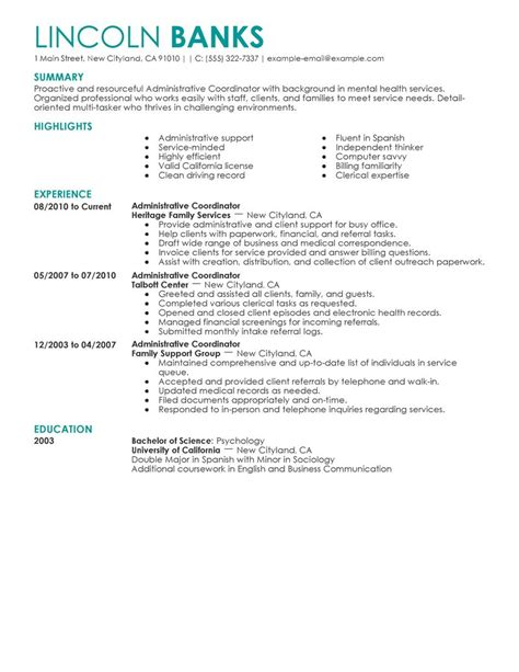 resume format for office coordinator administrative coordinator resume exle social services sle resumes livecareer