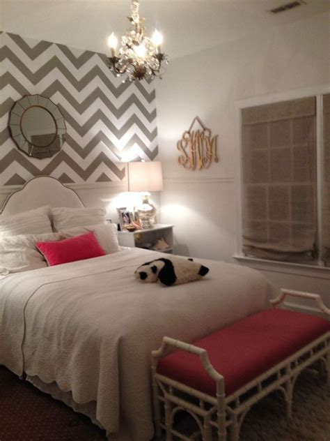 white paint for small bedroom ideas with zigzag wallpaper