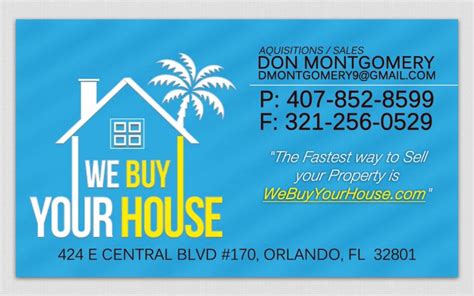 project we buy your house real estate business card