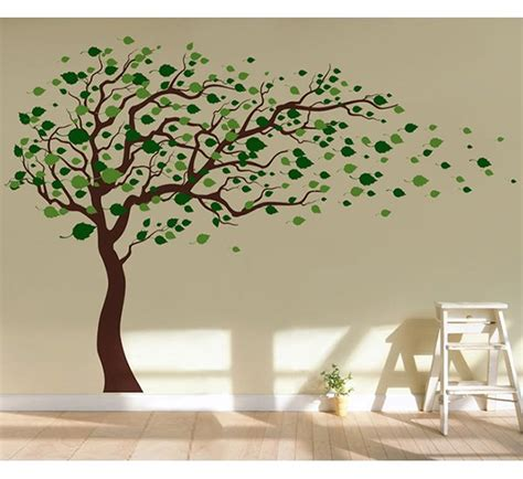wall stickers of trees pop decors tree blowing in the wind wall decal reviews