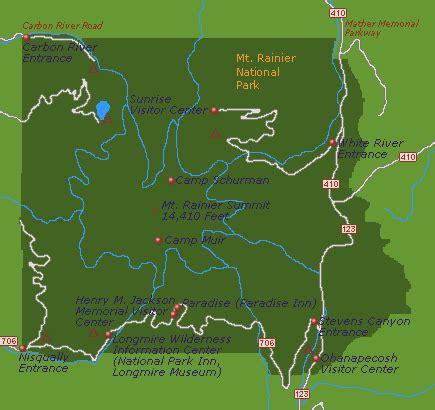 mt rainier national park map map of mount rainier national park go northwest a