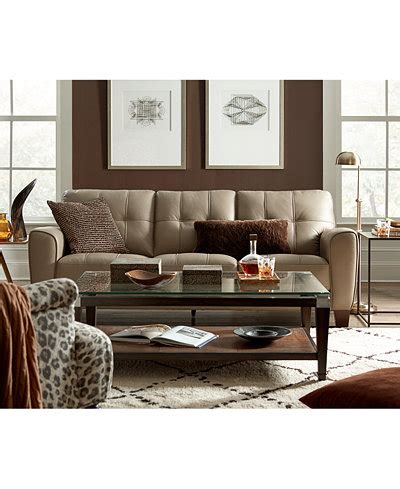 kaleb tufted leather sofa collection kaleb tufted leather sofa collection created for macy s