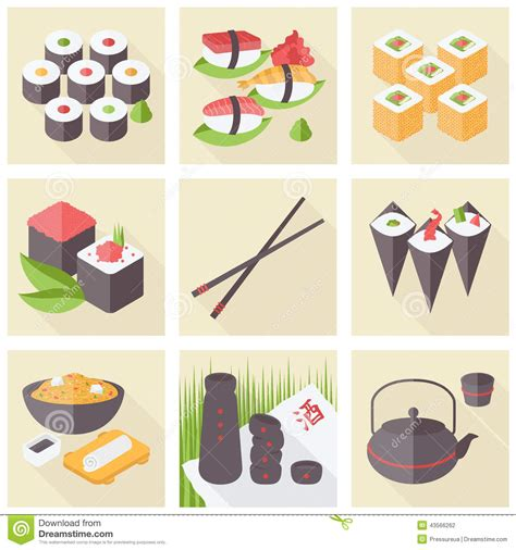 flat icon design japan asian food flat icons set stock illustration illustration