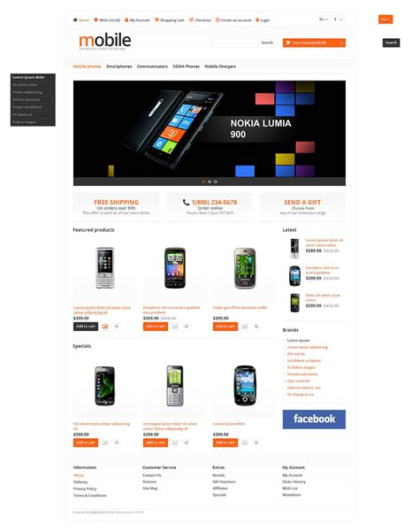 responsive mobile template responsive mobile phones store opencart template web