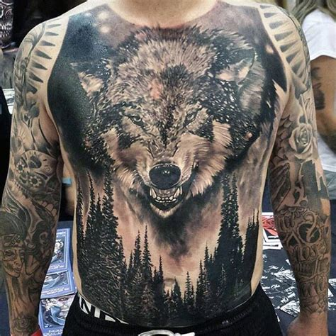 manly tattoos 60 wolf chest designs for manly ink ideas