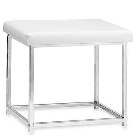 White Vanity Stool For Bathroom White Rectangle Vanity Stool Bed Bath Beyond
