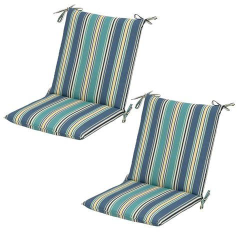 Striped Dining Chair Cushions Hton Bay Rainforest Stripe Mid Back Outdoor Dining Chair Cushion 2 Pack 7410 02226300 The