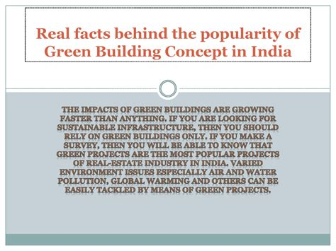 Real Facts Behind The Popularity Of Green Building Concept Green Building Concept Ppt