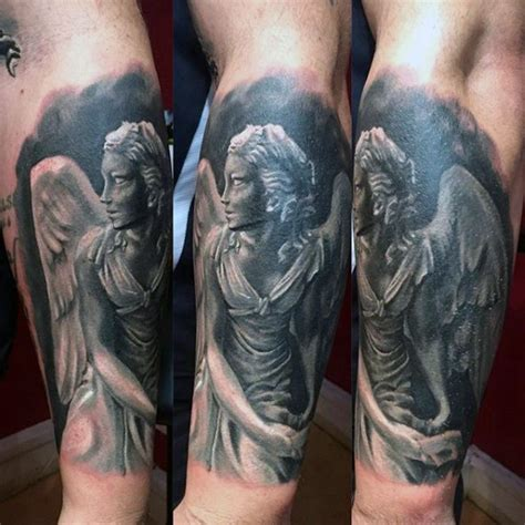 3d angel tattoo 3d style black and white forearm tattoo of angel statue