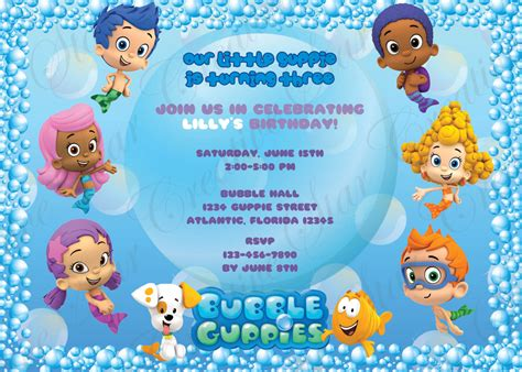 bubble guppies birthday invitations digital print file diy