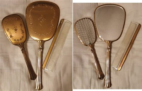 Set Comb Mirror vintage vanity sets mirror brush comb set collectors