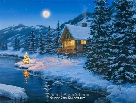 christmas cabin darrell bush art