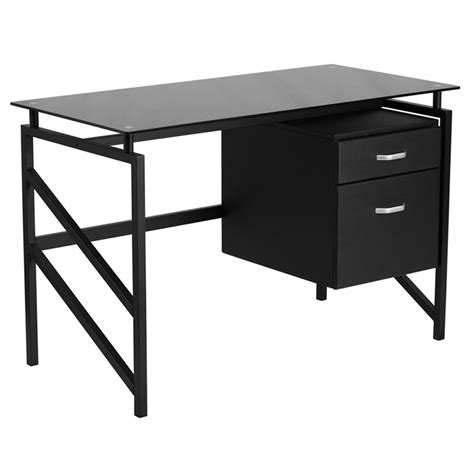 Small Black Glass Computer Desk Flynn Black Glass Top Office Desk