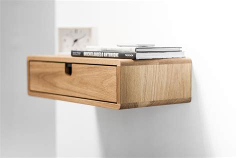 Floating Drawer Nightstand with Floating Nightstand With Drawer In Oak Scandinavian Design