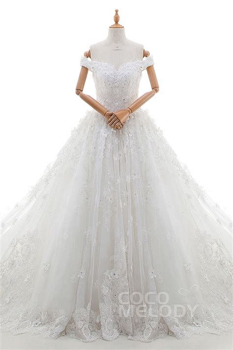 Cocomelody: Princess Off The Shoulder Cathedral Train Tulle Wedding Dress LD4349
