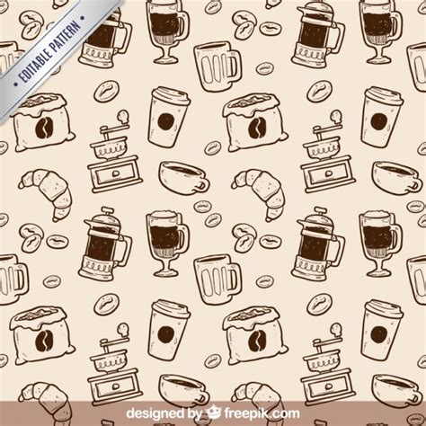 Pattern Coffee Vector | hand drawn coffee pattern vector free download
