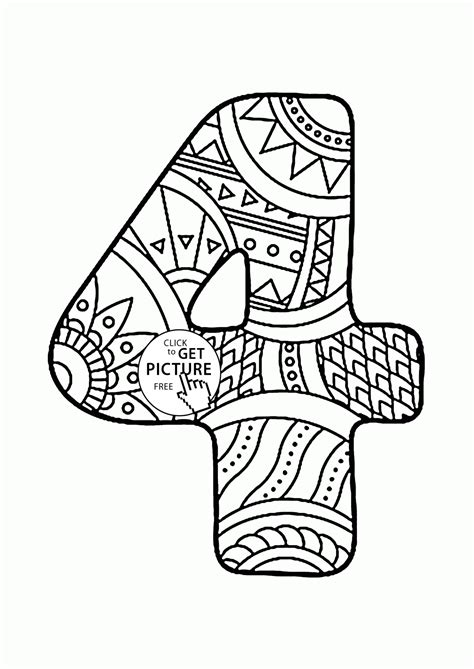 Coloring Pages 4 Pattern Number 4 Coloring Pages For Kids Counting Numbers by Coloring Pages 4