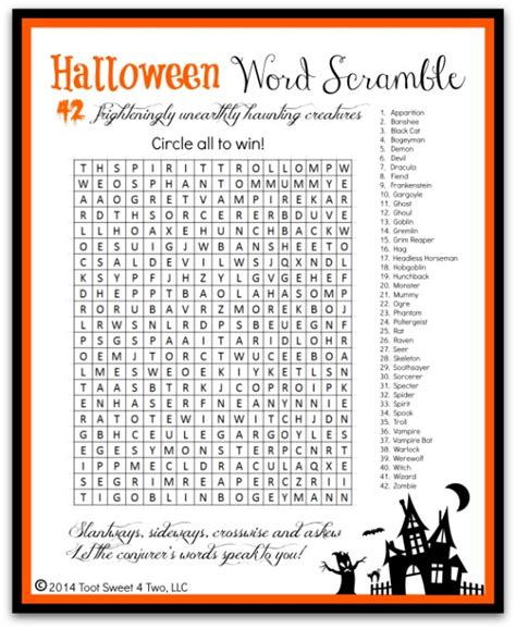 free printable halloween word games for adults 6 best images of free printable halloween word scramble