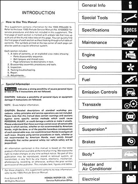 service manuals schematics 1985 honda prelude seat position control 1985 honda prelude si repair shop manual supplement original