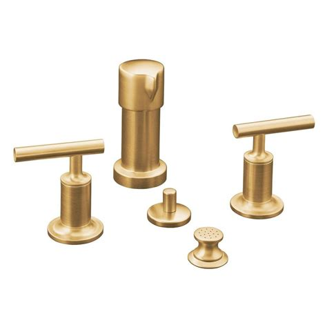 Brushed Gold Faucet by Kohler Purist 2 Handle Bidet Faucet In Vibrant Moderne