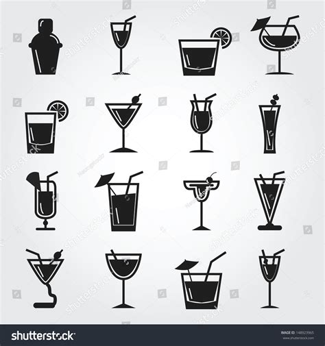 cocktail icon vector cocktail icons stock vector illustration 148923965