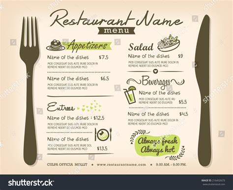 restaurant placemat menu design template layout stock