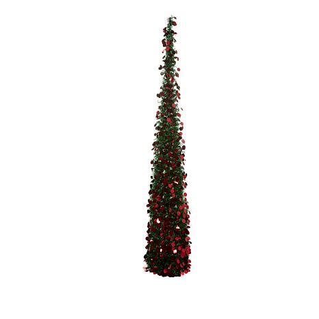 winterlane pop op tree winter 72 quot pop up tinsel tree 8663546 hsn