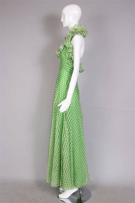 Id 234 V Neck Ruffle Dress Green 1970 s geoffrey beene green polka dot halter neck maxi dress w ruffle trim for sale at 1stdibs
