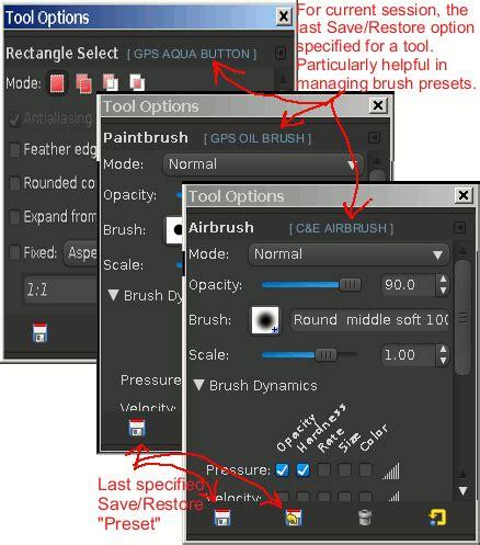 gimp reset tool options gimp ui brainstorm restore option