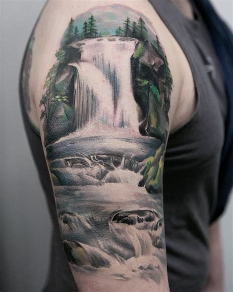 waterfall tattoo joice wang nature waterfalls tattoos