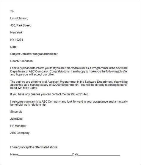 job offer letter templates images letter