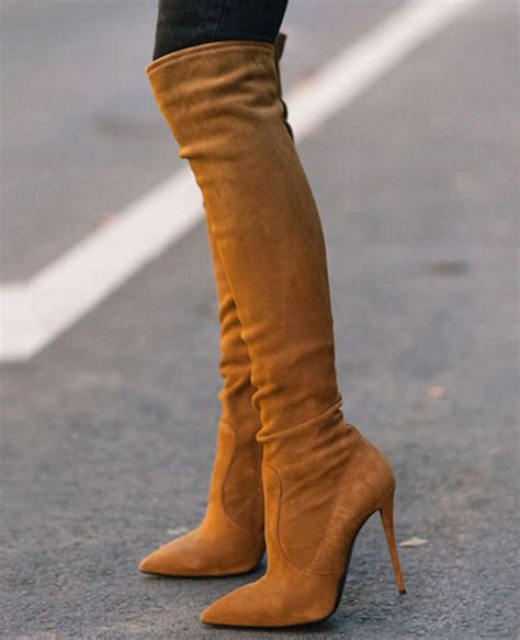 High Heel Afr2301 New Arrival new arrival booties pointed toe high heel boots brown stretch suede leather knee