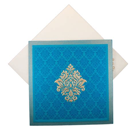 Square Wedding Cards indian wedding card in square in blue with golden motifs